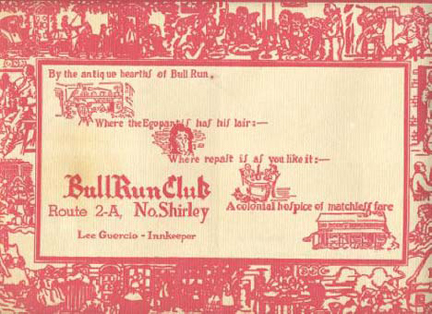 Old placemat from BULL RUN