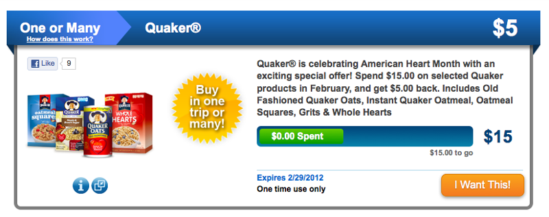 Spend $15.00 on selected Quaker products in February, and get $5.00 back