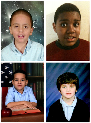 Four students, ages 8-9