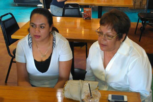 Maria Martinez and Maria Moya speaking with Voice of San Diego
