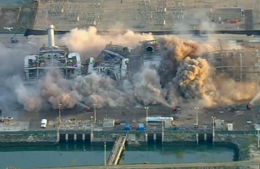 south bay power plant implosion - air shot