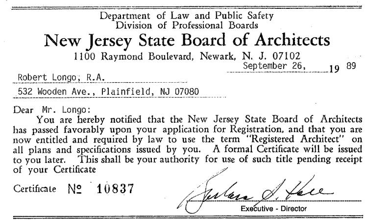 Both Robert F. Barranger, AIA And Robert M. Longo, AIA Were Licensed In  1989, And Celebrated 25 Years As Licensed Architects.
