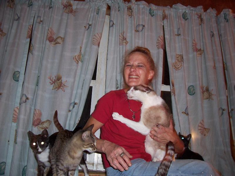 CHRISSY WITH ANGEL CATS