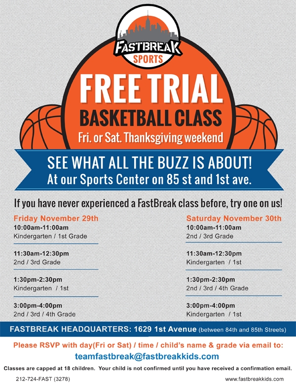 FREE TRIAL Basketball Class Thanksgivi​ng Weekend!