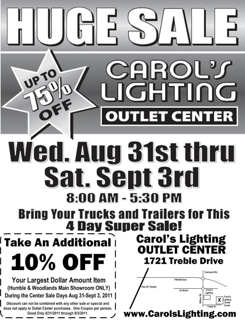 BRING ...  sc 1 st  Constant Contact & HUGE SALE!!! 75%OFF at The NEW Carolu0027s Lighting Outlet Center