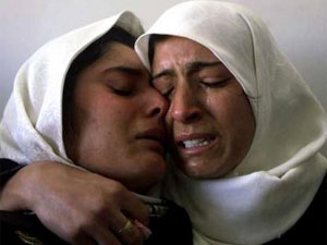 two women crying