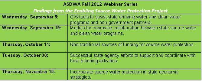 ASDWA webinars 2012