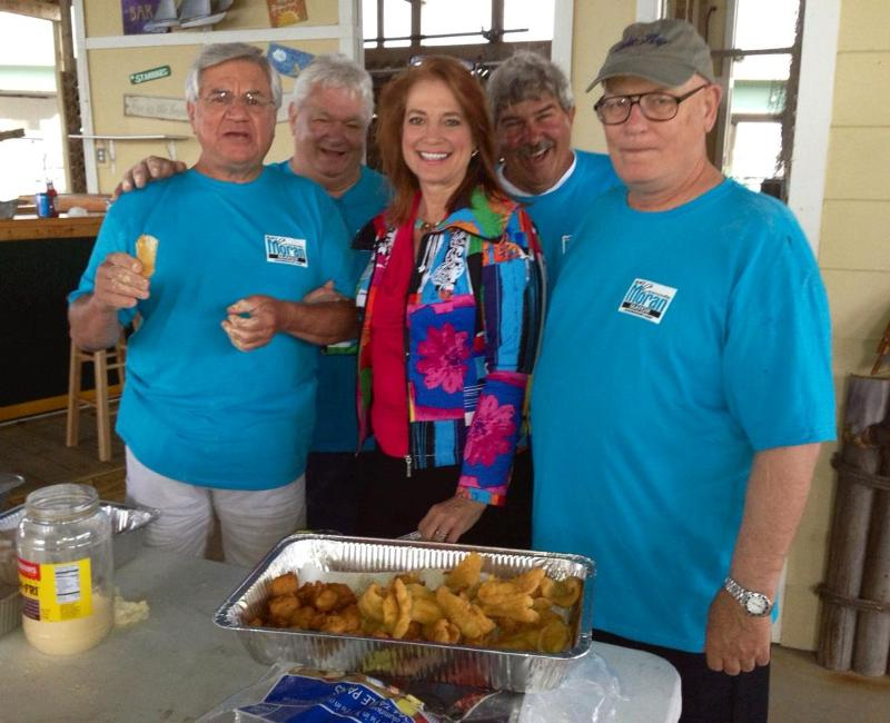 Connie with Staunch republican Friends Frying Fish for her Fundraiser at the Ocean Springs Yacht Club