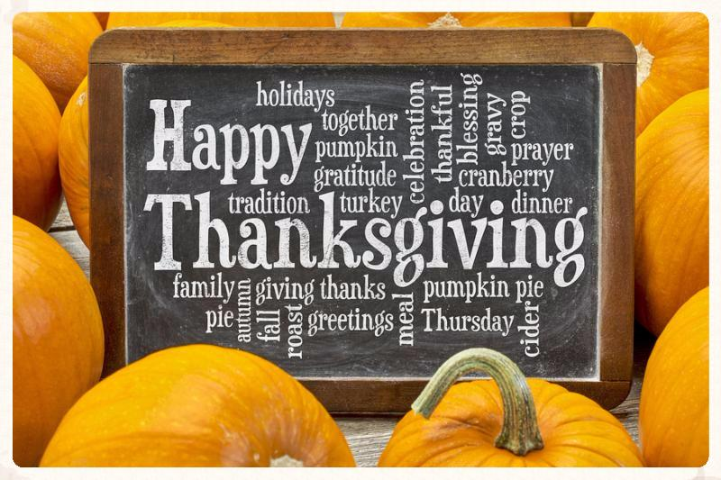 Happy Thanksgiving word cloud on a  vintage slate blackboard surrounded by pumpkins