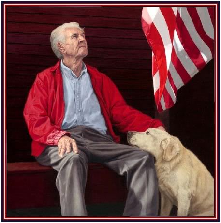 veteran with dog, flag