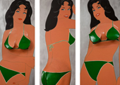 """Green Triptych"" by Marjorie Strider"