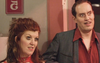 Kate Flannery and partner-in-comedy Scot Robinson as the Lampshades