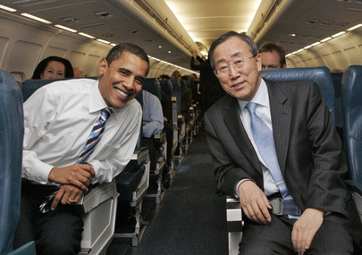 Barack Obama and Ban Ki-moon en route to New York in February 2007