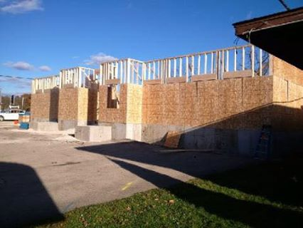 The walls going up