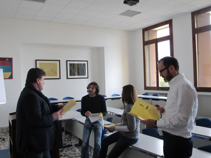 Students during a negotiation round