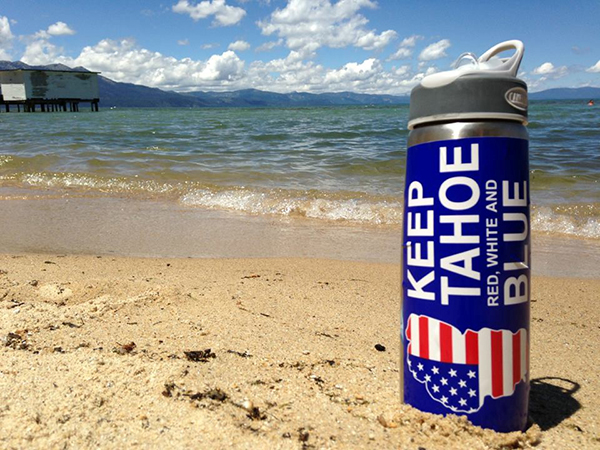 Keep Tahoe Red_ White and Blue Bumper Sticker