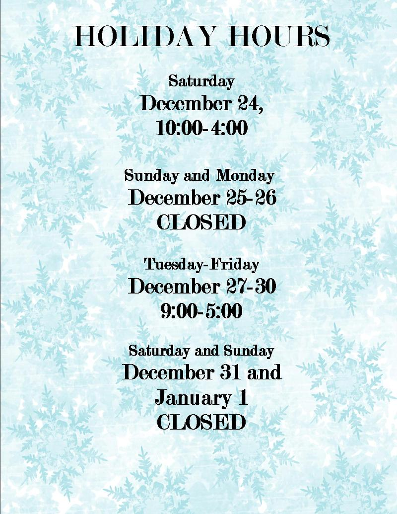 2011 Holiday Hours