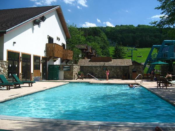 Inn at Holiday Valley Guests Enjoy the Heated Indoor-Outdoor Pool