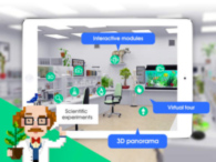 screen shot of a animated science lab with different learning stations