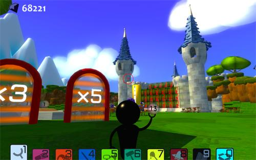 animated scene of a castle in the background with a field in front that shows x3 and x5 on rising up from the ground
