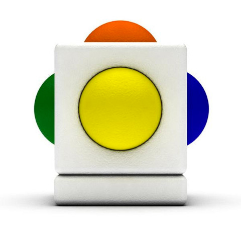 image of skoog device. large white cube with a green button protruding from the left, a orange button protruding from the top, a blue button protruding from the right, and a yellow button protruding from the front.