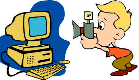 cartoon character taking a picture of his computer with a camera