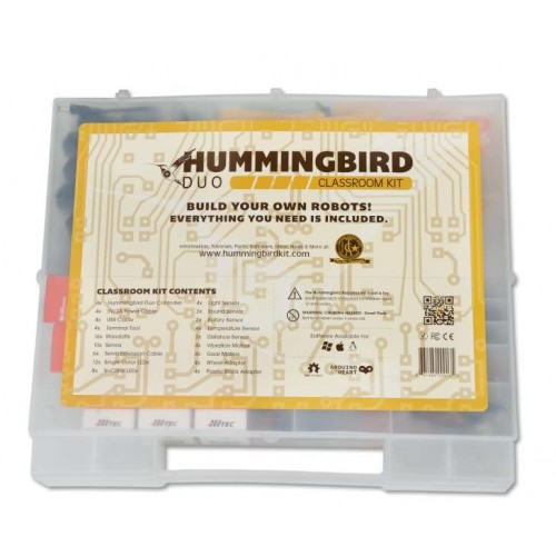 Picture of a white square with a handle known as  the Hummingbird Robotics case  that has the word Hummingbird on it