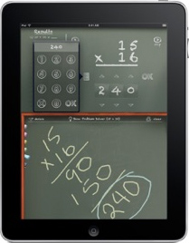ipad with screen showing a calculator and writing on a chalkboard