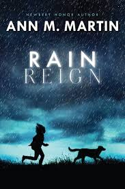 book cover with title Rain Reign printed over a nightfall background with a girl chasing a dog in the foreground
