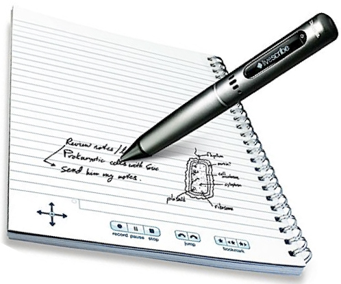 shows a live scribe pen in a writing position hovering over livesribe paper with indistinguishable writing