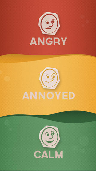 red angry face, yellow annoyed face, and green calm face