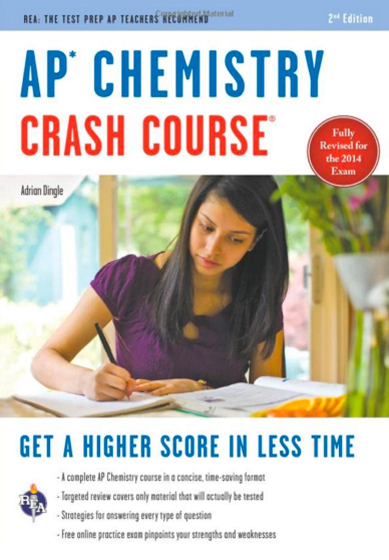 book cover title ap chemistry crash course showing a high school age girl writing in a notebook