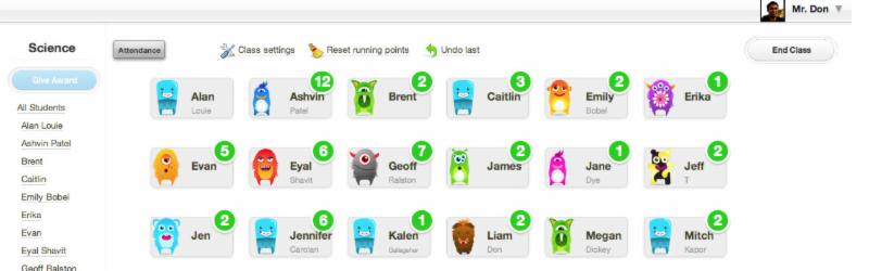 screen shot of student avatars and behavioral points