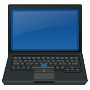laptop computer with a blank blue screen