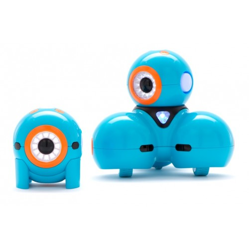 Picture of Dash and Dot Robot which can be described as round blue hard plastic ball sitting on a tripod  with an eyeball like shape that is orange and  white with a black center just like an eyeball
