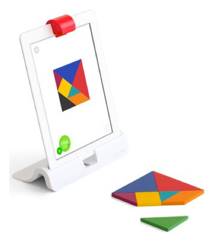 image of ipad with tangrams on screen and tangrams sitting in front of the ipad