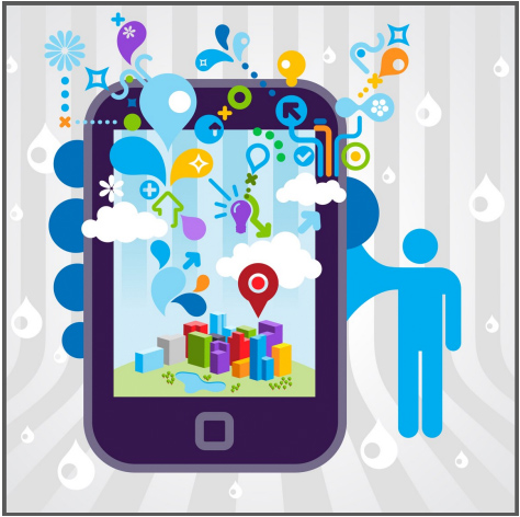 Picture of a blue color image or outline of a person holding a smartphone with colorful bubbles and images of a city on the screen