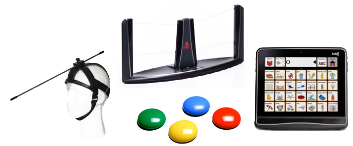 collection of images from left to right showing a headpointer, center front, 4 switches that are green, blue, red, and yellow, center rear is the Beamz, and on the right is a Tobii device