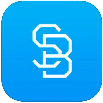 blue logo icon with the letters S and B superimposed over each other