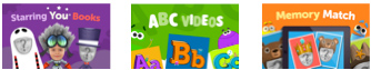 screen shot showing 3 titles. on left is purple covered digital book with 2 faceless characters and 1 with a child's face. in the middle is green digital book with the title ABC Videos, on the right is a orange digital book titled memory match showing 2 faceless characters