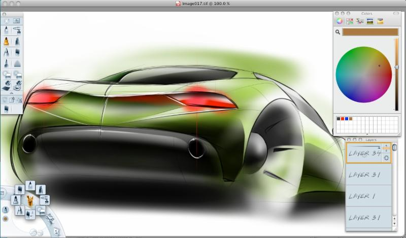 screen shot showing the back side of a car. the car is green and looks airbrushed.