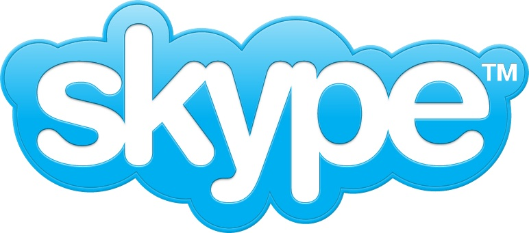 blue cloud with white lettering spelling skype