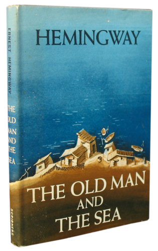 book cover image of Earnest Hemingway The old man and the sea. Blue background with small village in the foreground