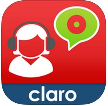 icon for claro speak plus. red background with clip art character wearing headphones
