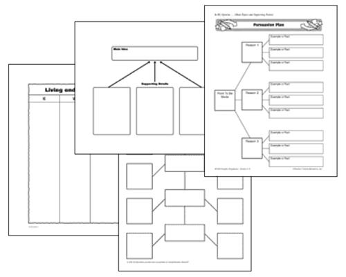 4 stacked black and white simple graphic organizers