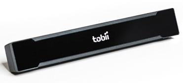 PC Eye Go device is small blank rectangular object with the tobii written on the face.