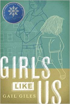 book cover showing the title girls like us with a aqua and yellow background and white sketch drawing of two girls facing in opposite directions