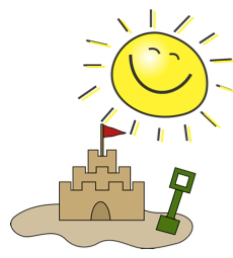 yellow sun with smiling face in upper right. sand castle with green shovel in foreground