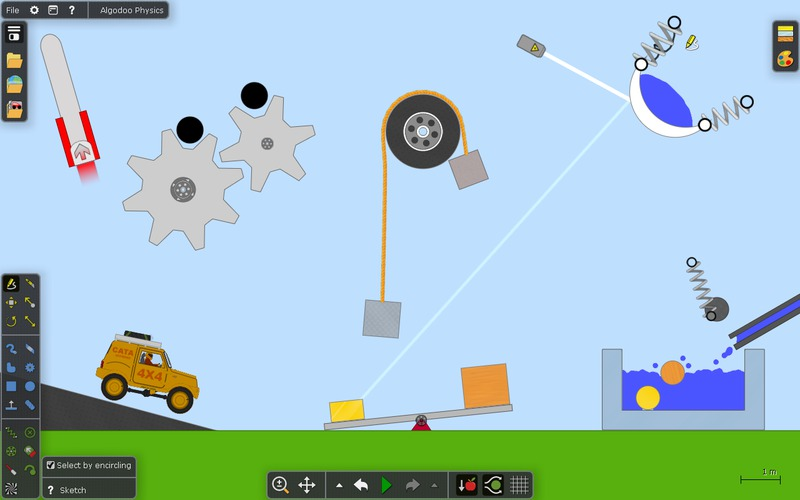 screen shot showing car, gears, pulleys, and other random shapes and editing tools