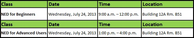 NED Training Schedule July 24 2013 Final